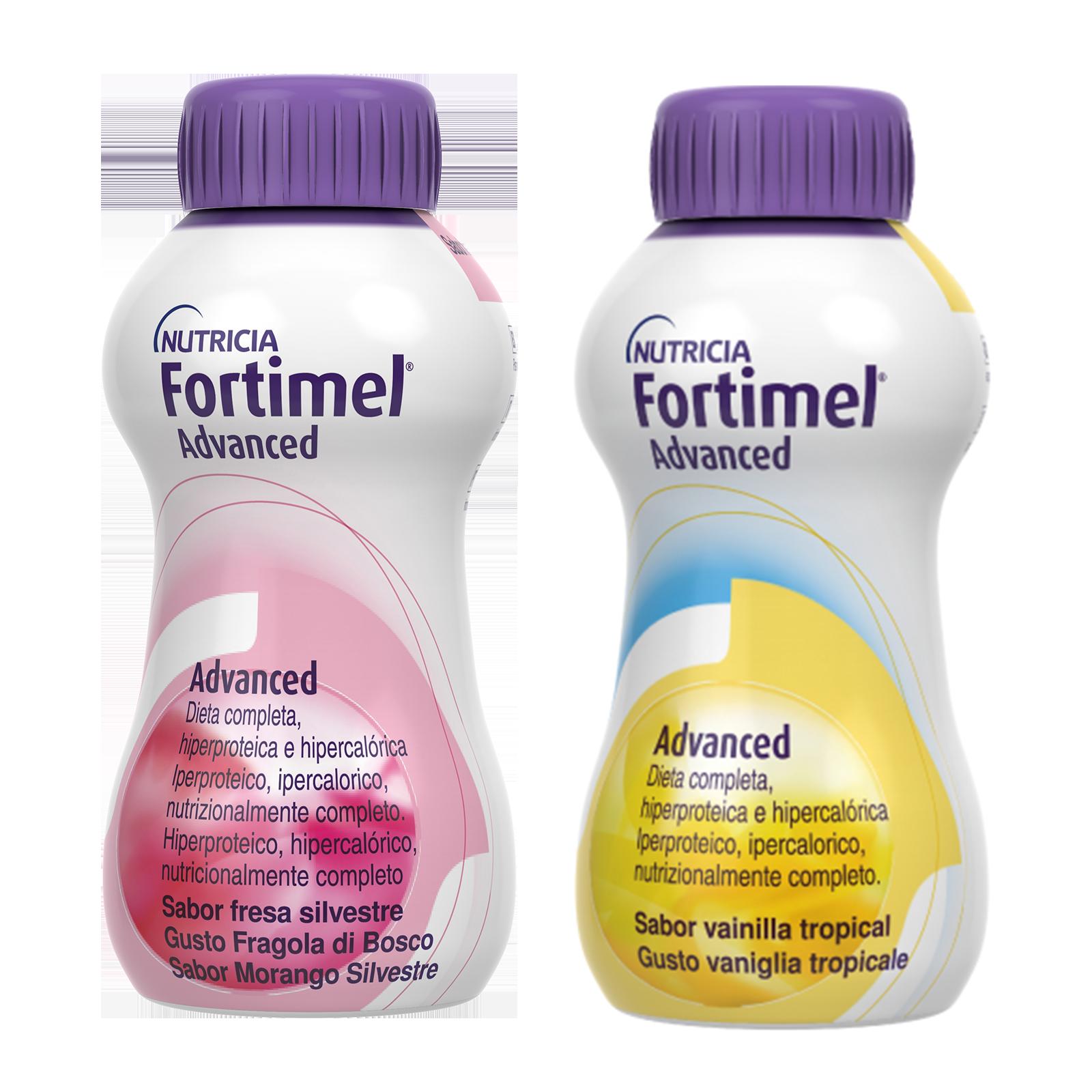 Integratori alimentari - Fortimel Advanced Fragola di bosco e Vaniglia tropicale 8 bottigliette, Fortimel